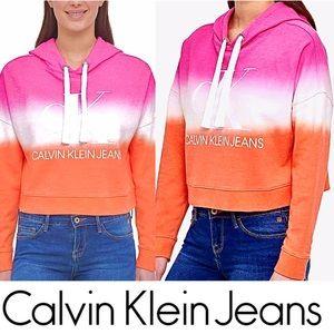 Calvin Klein Tie Dye Cropped Hoodie Logo Top NWT